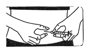 The picture shows how to pinch the skin and insert the needle