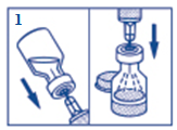 Draw up all the water in a disposable syringe.  Insert the injection needle through the rubber membrane (within the marked circle) into the glucagon vial and inject all the water from the syringe into the vial.