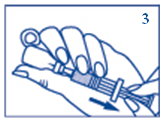 Hold the injection needle in the liquid and slowly withdraw all the solution to the syringe.