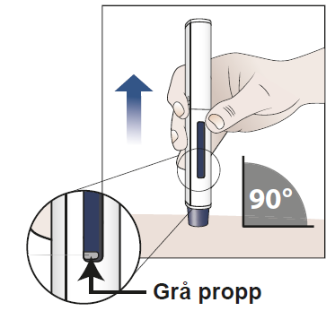 c) Check that the blue plunger has filled the window and remove the pre-filled pen from the skin.