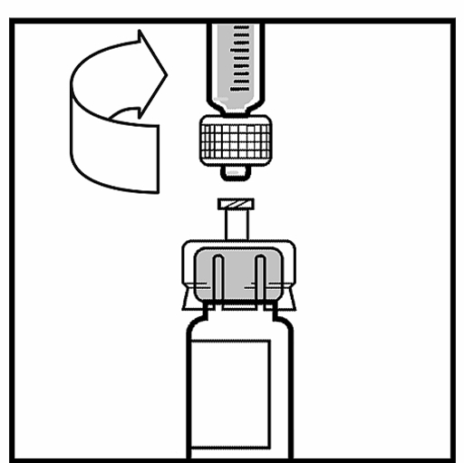 The picture describes how the syringe is attached to the bottle