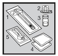 Bilden visar en spruta, flaskadaptor, injektionsflaska för pediatrisk användnng av Humira för injektion, två spritsuddar och en nål.