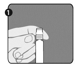 Håll sprutan (E) i ena handen med locket riktat uppåt. Var noga med att hålla sprutan i det vita räfflade sprutspetsfästet (D).