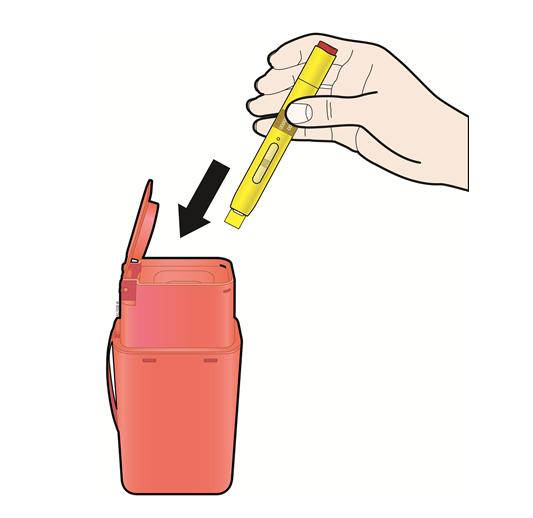 Visar att pennan och skyddshylsan kasseras