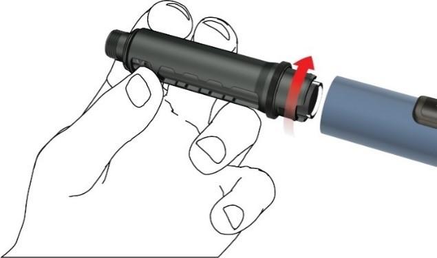 Ta bort ampullhållaren genom att vrida den