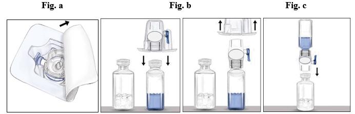 Bild på BAXJECT II-anordningen, flaskan med spädningsvätska och RIXUBIS-flaskan.