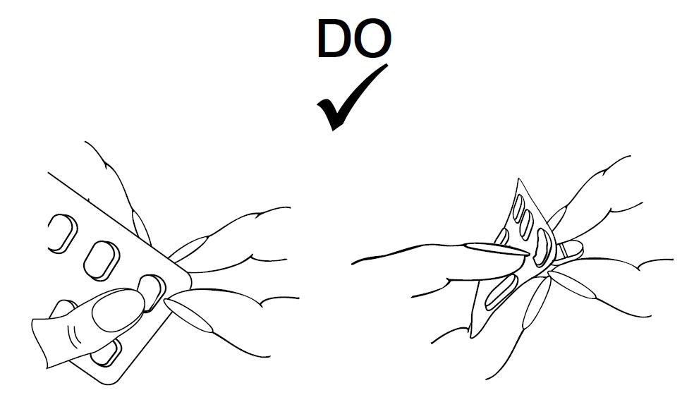 Pressa försiktigt ut tabletten genom att trycka på sidan av tabletten