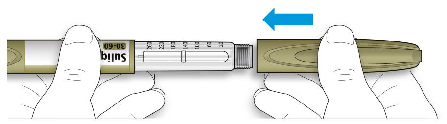 Bilden visar hur du sätter tillbaka skyddslocket på pennan