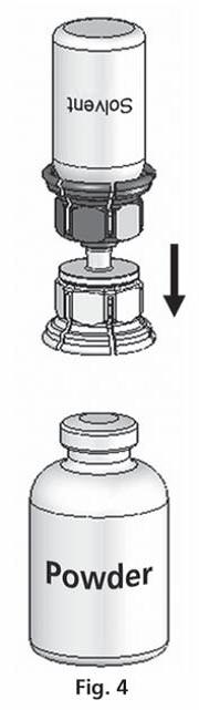 Sätt den genomskinliga delen på pulverflaskans propp.