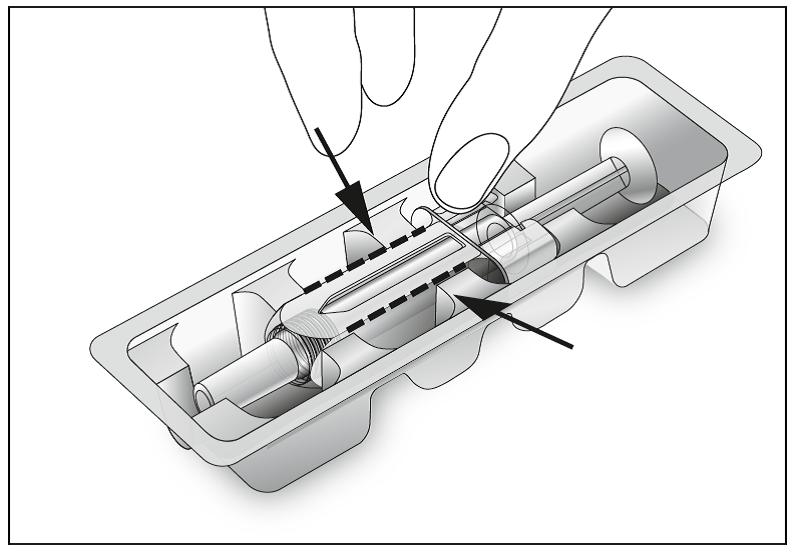 Bild 1. Öppna blistret och ta ut den förfyllda sprutan.
