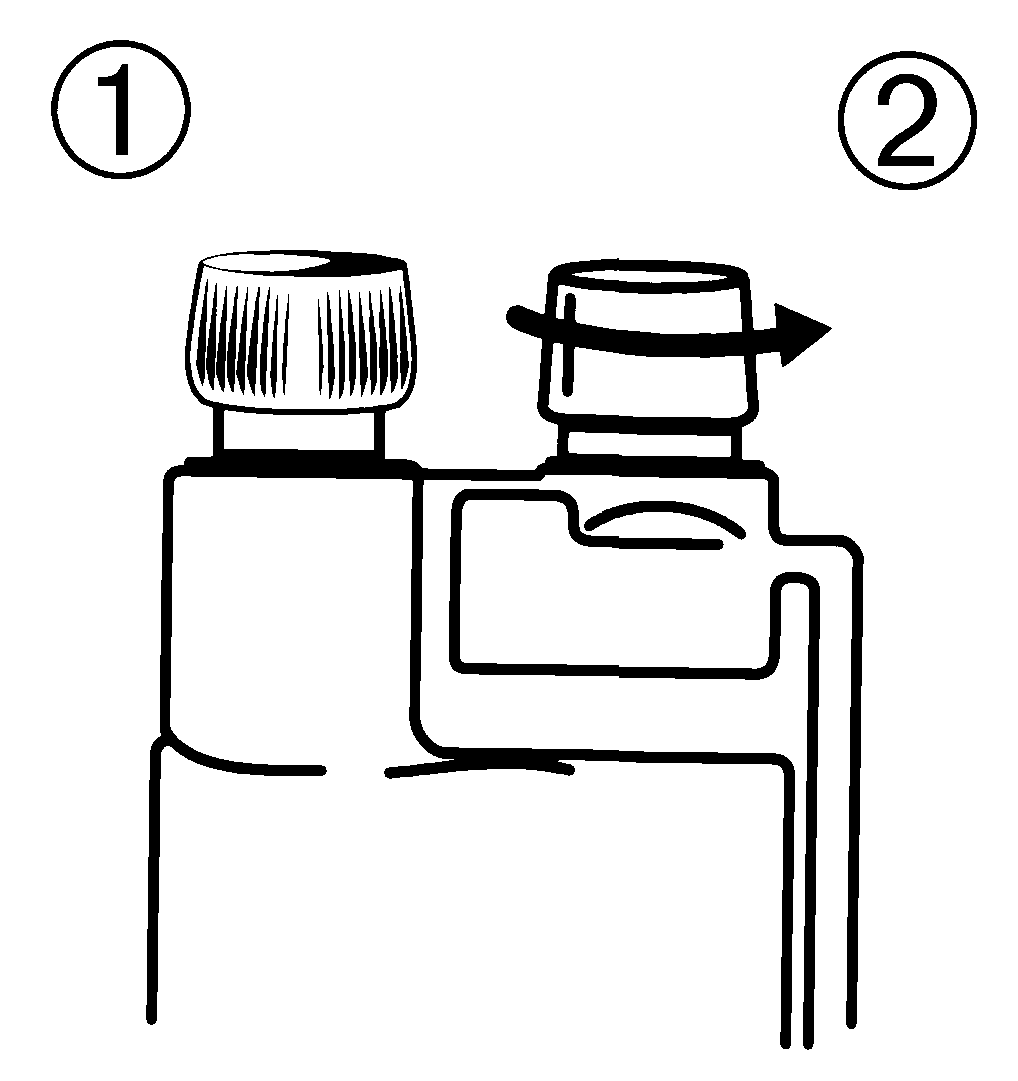 1) Tag bort lock nummer 2 från dosbehållaren på Blaze vet. flaskan. Lock nummer 1 skall vara påskruvat hela tiden.