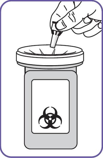 Kasta den använda nålen i en riskavfallsbehållare.