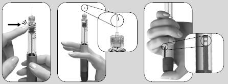 Knacka försiktigt på behållaren och tryck sedan in dosinställningsknappen. En droppe visas på nålspetsen.