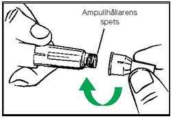 Sätt fast ny nål utan nåldöljare