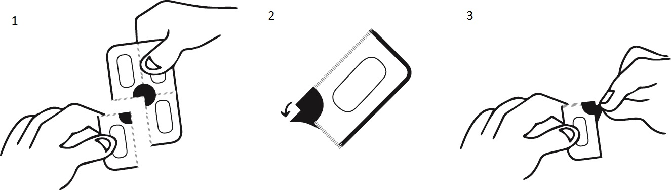Instruktion för att öppna blistret