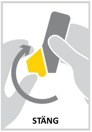 Ta bort inhalatorn från munnen. Andas sedan ut långsamt. Stäng munstyckets lock.