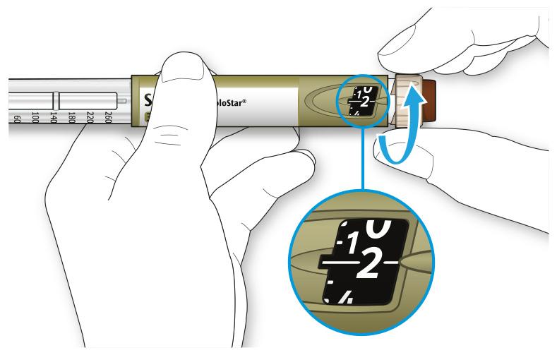 Bilden visar hur du väljer 2 dossteg genom att vrida på dosväljaren