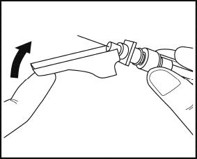 Bilder visar hur du vrider ner säkerhetsskyddet över nålen efter injektionen