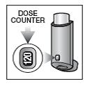 På baksidan av inhalatorn finns en dosräknare, som visar hur många doser det finns kvar.