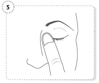 Tryck ett finger mot den inre ögonvrån, håll i 1 minut samtidigt som du blundar.