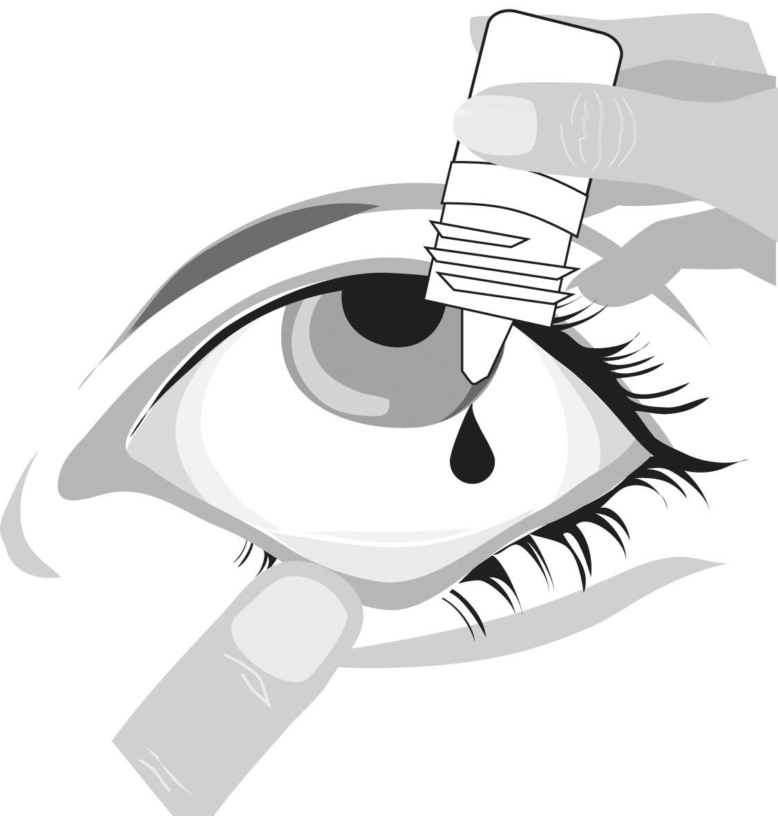 Tryck så attt en droppe hamnar i ögat
