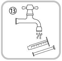Bilden visar hur du försluter flaskan genom att skruva på locket och tvättar sprutan med enbart vatten