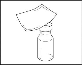 Bilden visar hur du desinficerar gummiproppen