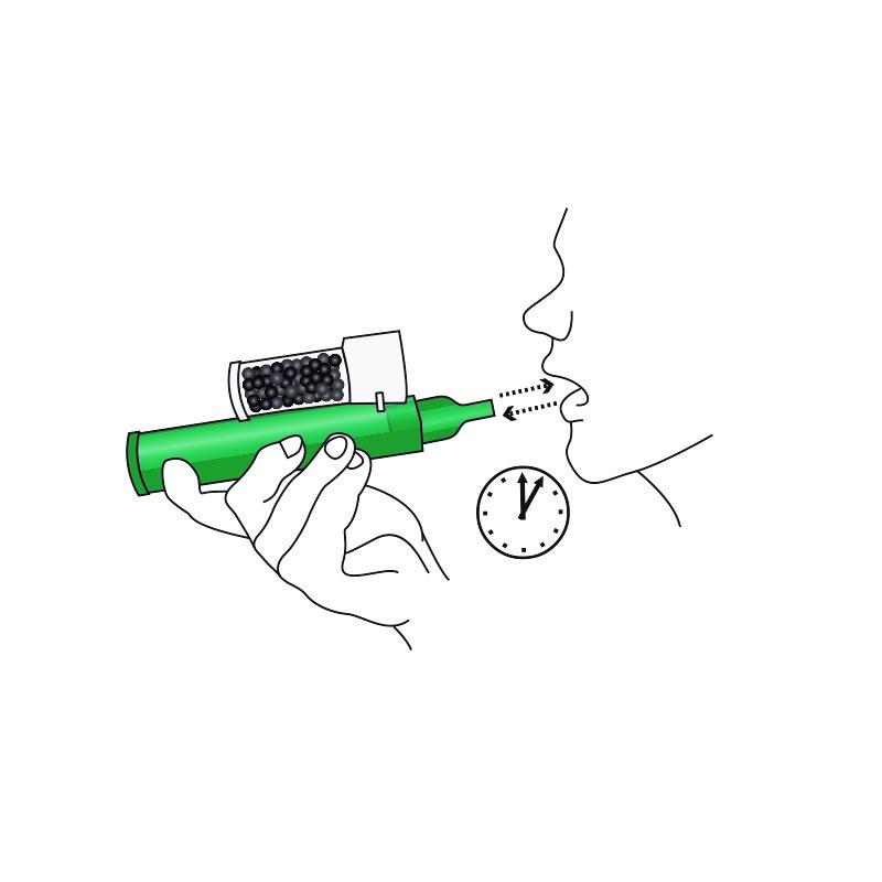 Fortsätt inhalera tills du blir ombedd att sluta eller tills du inhalerat maximal rekommenderad dos