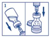 Dra upp allt vatten i en engångsspruta. Stick in injektionsnålen genom gummimembranet (inom markerad cirkel) i flaskan med glukagon och spruta ned allt vatten från sprutan till flaskan.