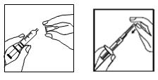 Tag av locket från den förfyllda sprutan och sätt på injektionsnålen