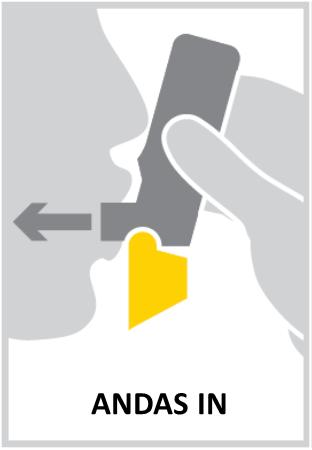 Placera munstycket mellan tänderna. Bit inte i munstycket. Slut läpparna om munstycket. Var noga med att inte blockera luftintagen. Andas in genom munnen så djupt och kraftigt som du kan. Håll andan i 10 sekunder eller så länge det känns bekvämt.