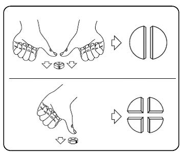 Tabletterna kan delas upp i två eller fyra lika stora delar.