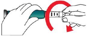 Skruva på kanylen medurs tills den sitter fast ordentligt.