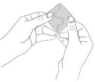 Bilden visar hur man håller plåstret