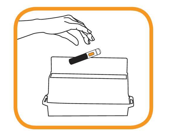 Bilden visar att efter injektion ska injektionspennan omedelbart kastas i en särskild behållare anvisad av läkare, sjuksköterska, eller apotekspersonal