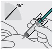 Placera fingrarna och för in nålen i 45 graders vinkel mot huden