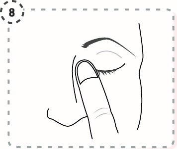 Tryck ett finger mot den inre ögonvrån i 2 minuter samtidigt som du blundar