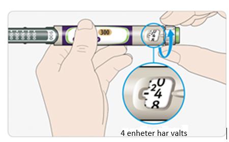Välj 4 enheter genom att vrida på dosväljaren tills dospekaren visar på den 4de markeringen.
