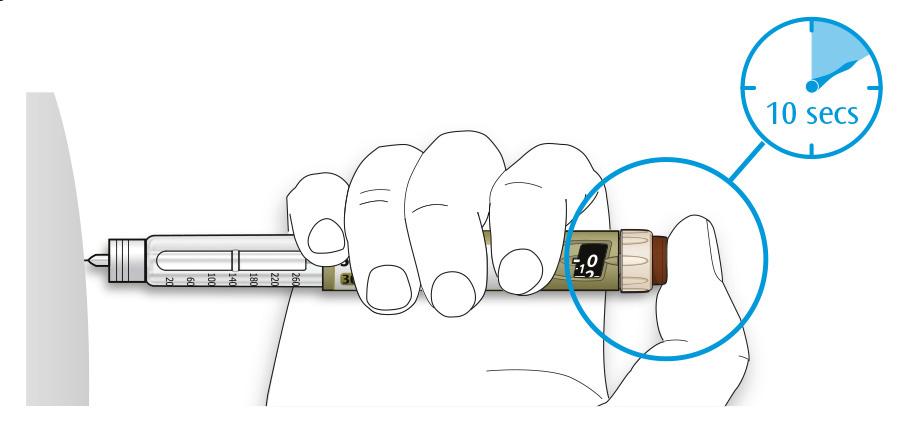 Bilden visar hur du håller injektionsknappen intryckt i 10 sekunder
