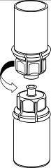 Fatta tag om injektionsflaskan med pulver med ena handen och injektionsflaskan med spädningsvätskan med andra handen, och skruva försiktigt isär i två delar.