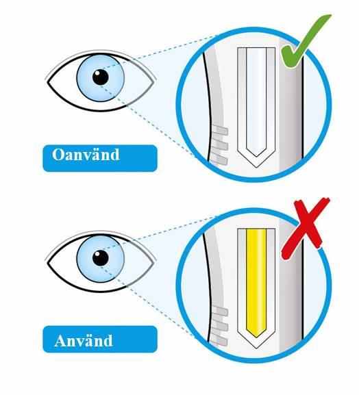 Bilden visar att du ska titta i pennans fönster för att kontrollera att vätskan är klar och färglös till blekgul