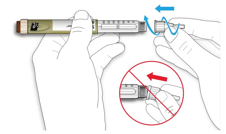Bilden visar hur du skruvar fast nålen på pennan