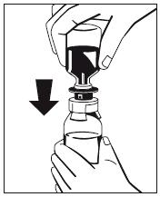 Tryck ned flaskan med vatten för injektionsvätskor. Fig 4