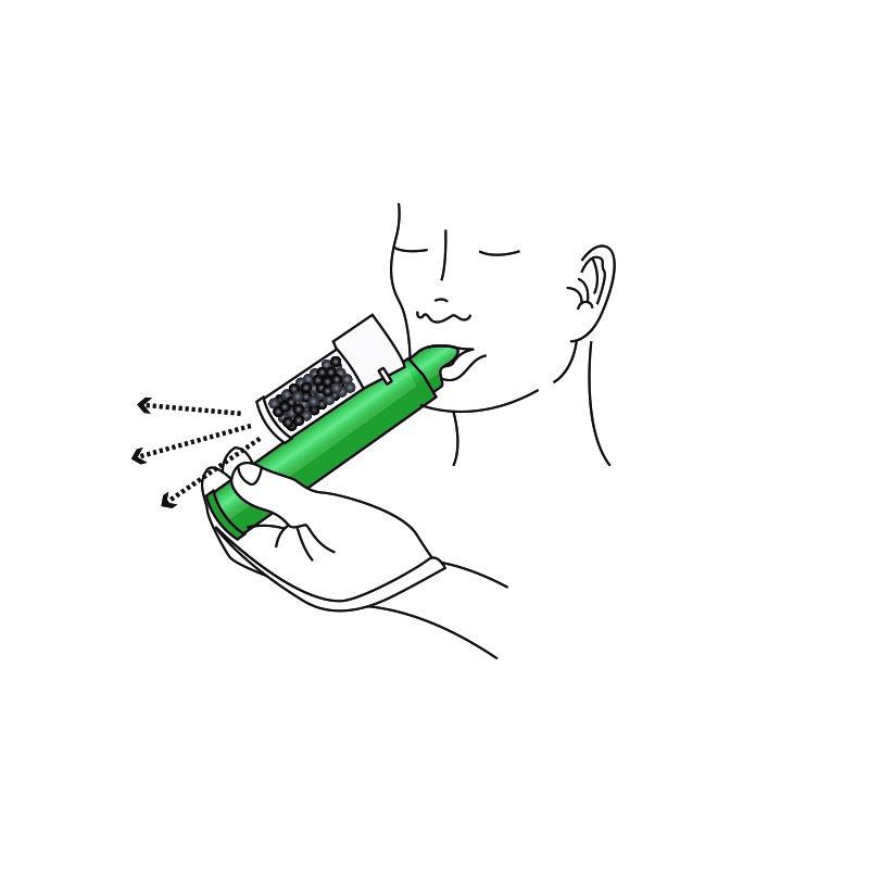 Andas in och ut genom munstycket på inhalatorn