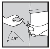 Bilden visar hur du ska hålla huden och sprutan.