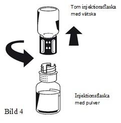 Hur man avlägsnar del av Nextaro och tom spädningflaska från flaskan med det nu upplösta pulvret