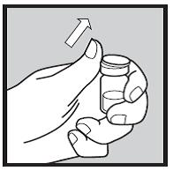 Bilden visar hur du trycker bort det vita plastlocket från injektionsflaskan.