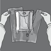 Öppna: Avlägsna den skyddande ytterpåsen. Kasta ytterpåsen och syreabsorberaren/syreindikatorn.
