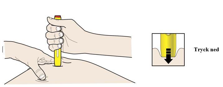 Tryck pennan mot huden tills den inte rör sig längre