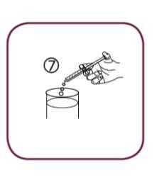 Bilden visar hur du tar medicinen genom att skjuta in kolven i sprutan hela vägen till botten